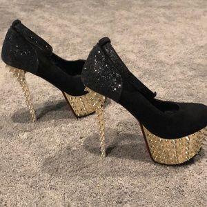 Gold Studded Platform Stilettos